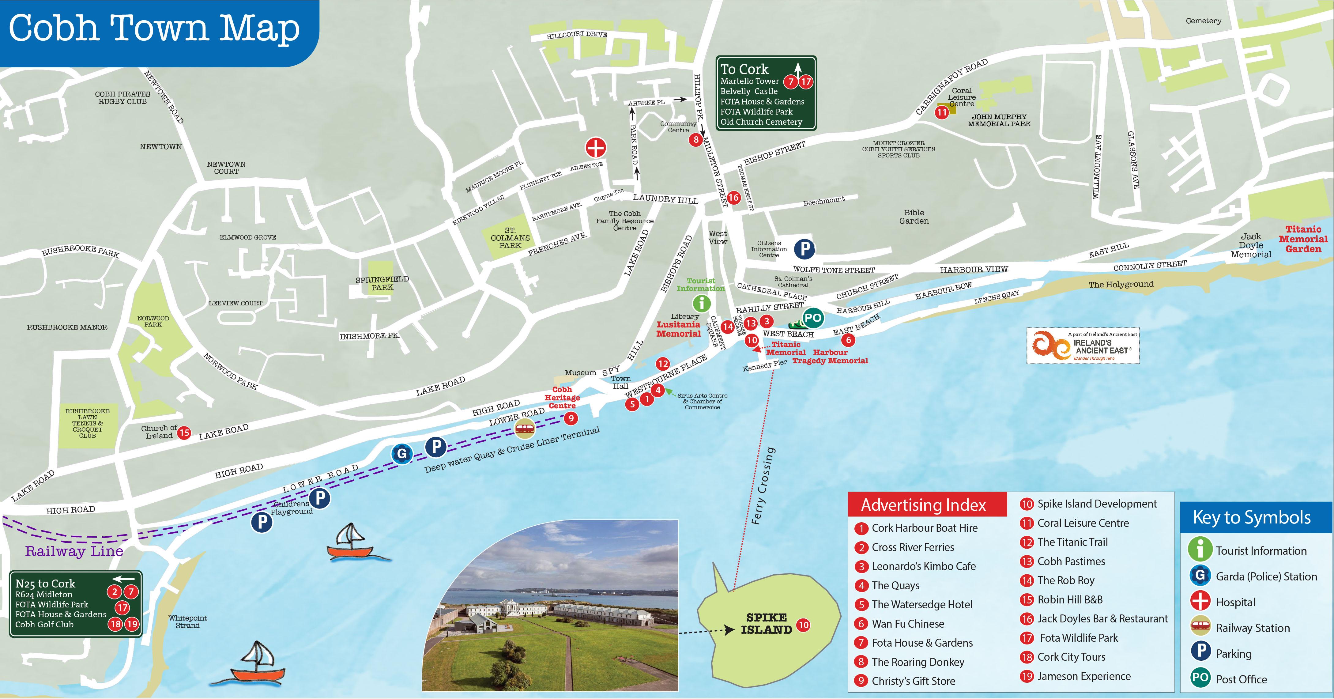 cobh cruise terminal map Cobh Town Map Town Maps cobh cruise terminal map